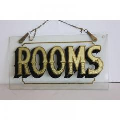 Early 20h C Antique Reverse Painted Rooms Glass Sign - 1362539