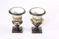 Early 20th Century Pair Porcelain Urns Campana Shaped Vases - 1593424