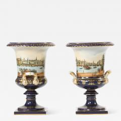 Early 20th Century Pair Porcelain Urns Campana Shaped Vases - 1595022