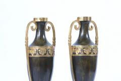 Early 20th Century Pair Tall Patinated Bronze Vases Pieces - 1593336
