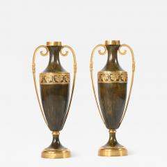 Early 20th Century Pair Tall Patinated Bronze Vases Pieces - 1595019