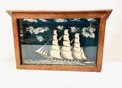 Early 20th Century Schooner Diorama Shadow Box  - 1872295