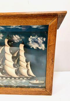 Early 20th Century Schooner Diorama Shadow Box  - 1872296