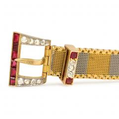 Early 20th Century Two Color Gold Buckle Bracelet with Rubies and Diamonds - 331612