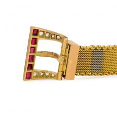 Early 20th Century Two Color Gold Buckle Bracelet with Rubies and Diamonds - 331613