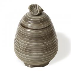 Ebbe Sadolin Unique Covered Jar with ridged texture and shell finial by Ebbe Sandolin - 781629
