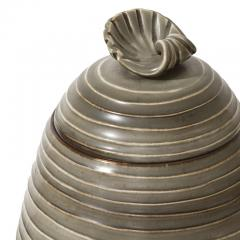 Ebbe Sadolin Unique Covered Jar with ridged texture and shell finial by Ebbe Sandolin - 781631