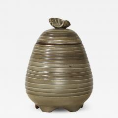 Ebbe Sadolin Unique Covered Jar with ridged texture and shell finial by Ebbe Sandolin - 784354