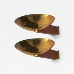 Eckart Muthesius Eckart Muthesius Pair of Wall Lights in Brass and Mahogany Tecnolumen - 1168486