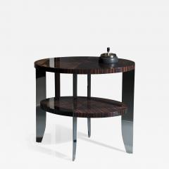 Eclipse Side Table in Natural Macassar and Polished Stainless Steel - 2138862