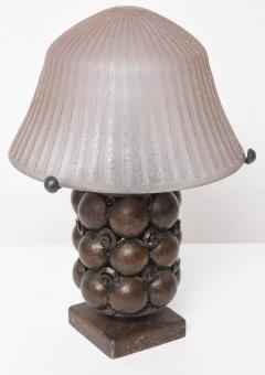 Edgar Brandt Art Deco Bronze Table Lamp Attributed to Edgar Brandt with Daum Nancy Shade - 586536