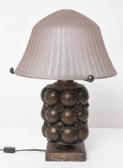 Edgar Brandt Art Deco Bronze Table Lamp Attributed to Edgar Brandt with Daum Nancy Shade - 586537