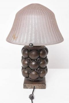 Edgar Brandt Art Deco Bronze Table Lamp Attributed to Edgar Brandt with Daum Nancy Shade - 586543