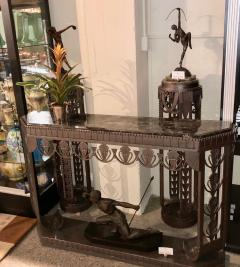 Edgar Brandt Art Deco Grand Iron and Marble Console style of Edgar Brandt - 1352526