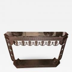 Edgar Brandt Art Deco Grand Iron and Marble Console style of Edgar Brandt - 1352737