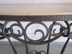 Edgar Brandt French Art Deco Hand Hammered iron and Marble Wall Console by Edgar Brandt - 1844471