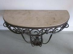 Edgar Brandt French Art Deco Hand Hammered iron and Marble Wall Console by Edgar Brandt - 1844473