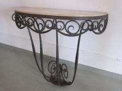 Edgar Brandt French Art Deco Hand Hammered iron and Marble Wall Console by Edgar Brandt - 1844474
