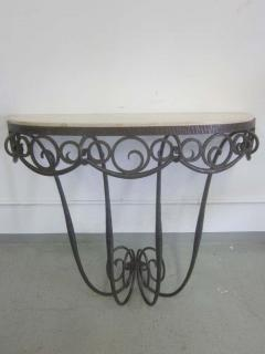 Edgar Brandt French Art Deco Hand Hammered iron and Marble Wall Console by Edgar Brandt - 1844475
