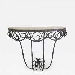 Edgar Brandt French Art Deco Hand Hammered iron and Marble Wall Console by Edgar Brandt - 1845826