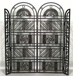 Edgar Brandt French Art Deco Wrought Iron Filigree Circle Design 4 Panel Gate - 470983