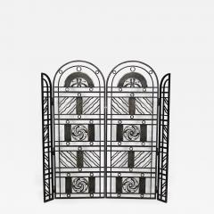 Edgar Brandt French Art Deco Wrought Iron Filigree Circle Design 4 Panel Gate - 471955