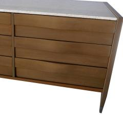 Edmond Spence American Modern Cerused Gray Walnut and Travertine Marble Top Six Drawer Chest - 865234