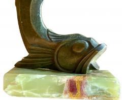 Edouard Marcel Sandoz Art Deco Bronze Sculpture of a Cubist Style Fish by Edouard Marcel Sandoz - 1748831