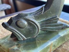 Edouard Marcel Sandoz Art Deco Bronze Sculpture of a Cubist Style Fish by Edouard Marcel Sandoz - 1748883