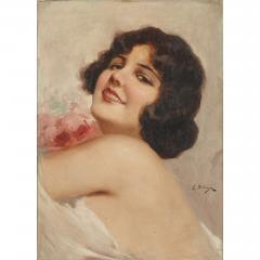 Eduardo Forlenza Oil painting of an Italian woman holding flowers by Eduardo Forlenza - 1942649