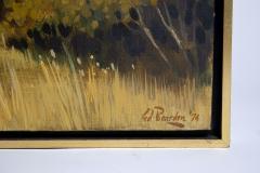 Edward Carpenter Bearden Ed Bearden Oil on Canvas Edge of the Woods in Fall 1974 Texas Artist - 1930664