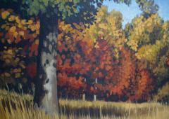 Edward Carpenter Bearden Ed Bearden Oil on Canvas Edge of the Woods in Fall 1974 Texas Artist - 1930665