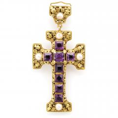 Edward Everett Oakes Arts and Crafts Gold and Amethyst Cross Pendant - 1222475