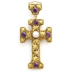 Edward Everett Oakes Arts and Crafts Gold and Amethyst Cross Pendant - 1222495
