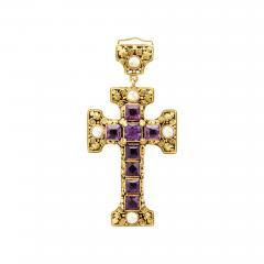 Edward Everett Oakes Arts and Crafts Gold and Amethyst Cross Pendant - 1222947