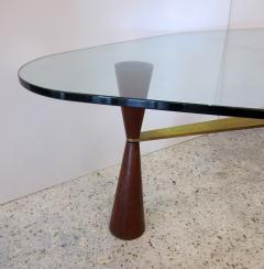 Edward Wormley An American Modern Brass Wood Glass Coffee Table Edward Wormley for Dunbar - 1265277