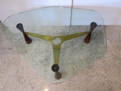 Edward Wormley An American Modern Brass Wood Glass Coffee Table Edward Wormley for Dunbar - 1265289