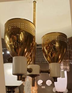 Edward Wormley Brass enamel Mid Century Modern chandelier E Wormley for Lightolier USA 1950s - 1315775