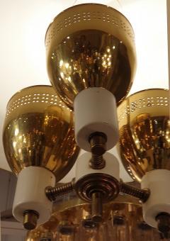 Edward Wormley Brass enamel Mid Century Modern chandelier E Wormley for Lightolier USA 1950s - 1315776