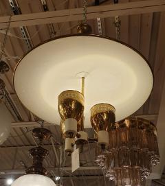 Edward Wormley Brass enamel Mid Century Modern chandelier E Wormley for Lightolier USA 1950s - 1315777