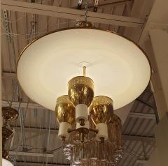 Edward Wormley Brass enamel Mid Century Modern chandelier E Wormley for Lightolier USA 1950s - 1315778