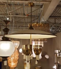 Edward Wormley Brass enamel Mid Century Modern chandelier E Wormley for Lightolier USA 1950s - 1315779