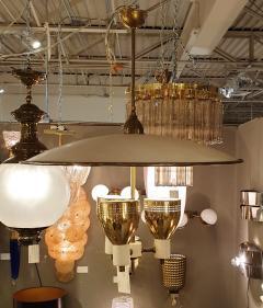 Edward Wormley Brass enamel Mid Century Modern chandelier E Wormley for Lightolier USA 1950s - 1315780