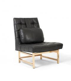 Edward Wormley Dunbar Brass and Leather Slipper Chairs Edward Wormley 1950s - 1092395