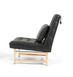 Edward Wormley Dunbar Brass and Leather Slipper Chairs Edward Wormley 1950s - 1092396