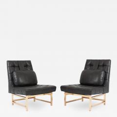 Edward Wormley Dunbar Brass and Leather Slipper Chairs Edward Wormley 1950s - 1092751