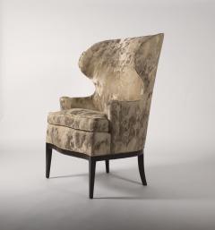 Edward Wormley Dunbar Wingback Chairs designed by Edward Wormley in a Custom Cartier Textile - 1132982