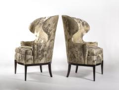 Edward Wormley Dunbar Wingback Chairs designed by Edward Wormley in a Custom Cartier Textile - 1132983