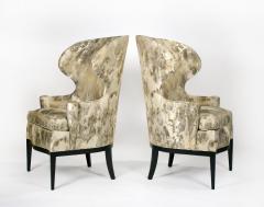 Edward Wormley Dunbar Wingback Chairs designed by Edward Wormley in a Custom Cartier Textile - 1132985