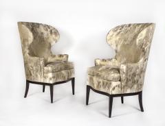Edward Wormley Dunbar Wingback Chairs designed by Edward Wormley in a Custom Cartier Textile - 1132986